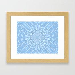 Futuristic Detailed Mandala (Blue White) Different Unique Pattern Framed Art Print