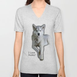 I love Husky Unisex V-Neck