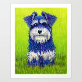 Colorful Miniature Schnauzer Dog Pet Portrait Art Print