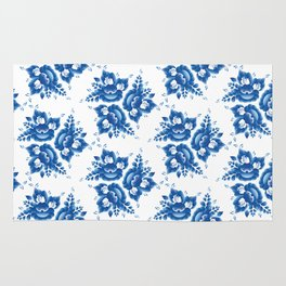 Vintage shabby Chic Seamless pattern with blue flowers and leaves. Vector Rug