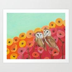 Owls in a Poppy Field Art Print