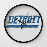 detroit Wall Clocks featuring Detroit by Matt Edward