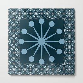 Starburst and Lines Mid Century Blue Metal Print