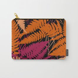 leafs tropical fern palm. orange pink brown silhouette on Black background Carry-All Pouch