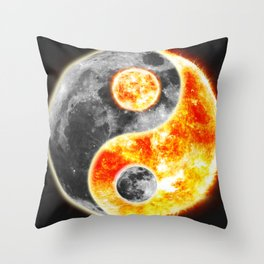 Sun Moon Day and Night Ying Yang Throw Pillow