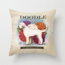 Doodle Goldendoodle wildflower seed packet artwork by Stephen Fowler Throw Pillow