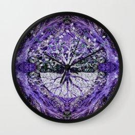 Silver Tree of Life Yggdrasil on Amethyst Geode Wall Clock