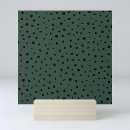 Cheetah Spots animal print minimal wild cat speckles and dots Forest Green Mini Art Print