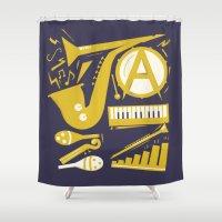 jazz Shower Curtains featuring Jazz by Veronika K