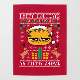 Ugly Holiday Sweater Cat Poster