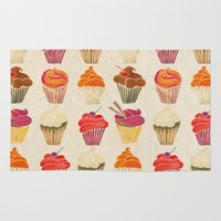 cupcakes Area & Throw Rugs featuring Cupcakes by Cat Coquillette