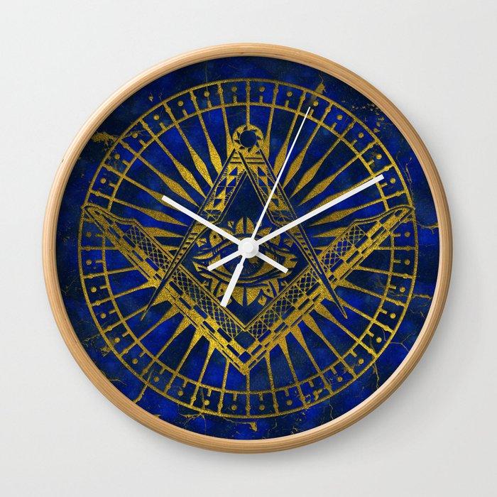 All Seeing Mystic Eye in Masonic Compass on Lapis Lazuli Wall Clock ...