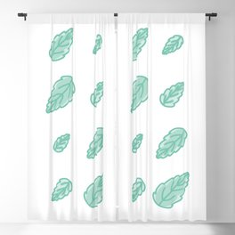 Green Scalloped Leaves Illustration Blackout Curtain