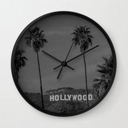 Hollywood Sign, Los Angeles, California black and white photograph / black and white photography Wall Clock
