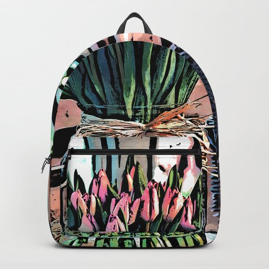 Wicker Basket And Flowers Backpack