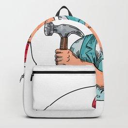 Vintage Carpenter Holding Hammer Mono Line Backpack