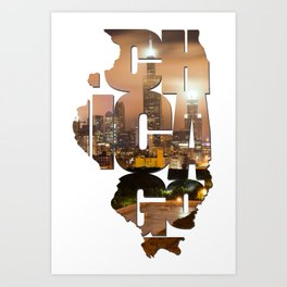 Chicago Illinois Typography - Chicago Skyline From The Rooftop Art Print