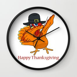 Dabbing Turkey with Pilgrim Hat Happy Thanksgiving Design Wall Clock