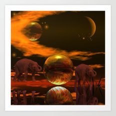 Magic in Africa with Elephants Art Print