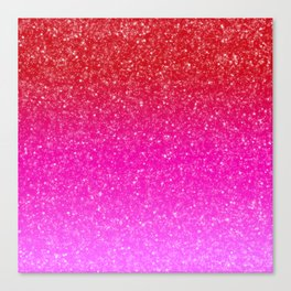 Red/Pink Glitter Gradient Canvas Print