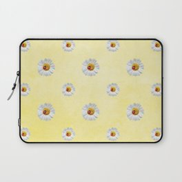 Daisies in love- Yellow Daisy Flower Floral pattern with Ladybug Laptop Sleeve