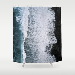 Aerial of a Black Sand Beach with Waves - Oceanscape Shower Curtain