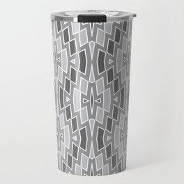 Tribal Diamond Pattern in Grays and White Travel Mug