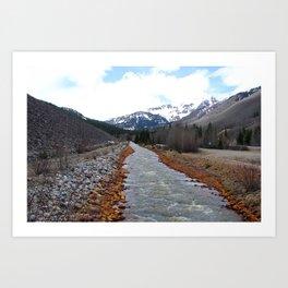 Miner's Mountain River Art Print