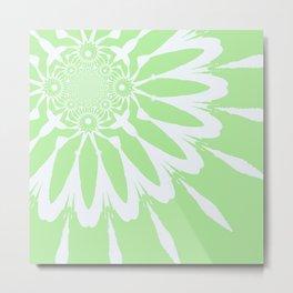 The Modern Flower Pastel Green & White Metal Print