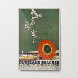 Duneland Beaches Vintage Travel Poster Metal Print