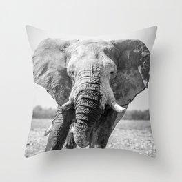 B&W Elephant 5 Throw Pillow