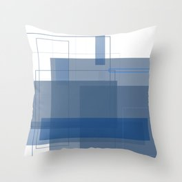 Mono Rectangle Blue Throw Pillow