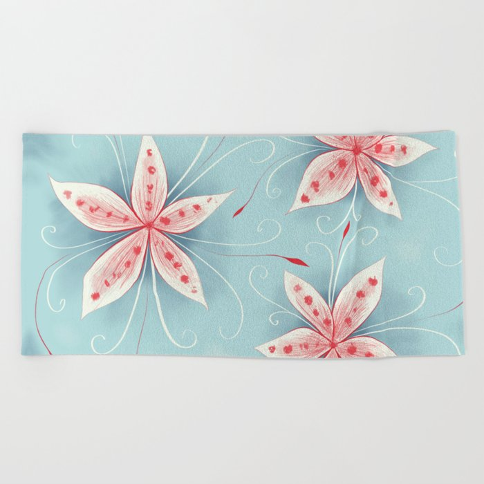 Beautiful Abstract Flowers In Red And White Beach Towel