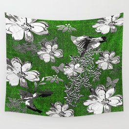 Birds Green Gray White Toile Wall Tapestry