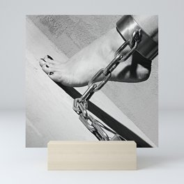Bare Feet shackled with heavy cuffs Mini Art Print