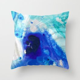 Modern Abstract Art - Blue Marble by Sharon Cummings Throw Pillow