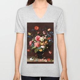 Flower bouquet oil painting work of art Unisex V-Neck