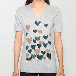 Valentine's Day Watercolor Hearts - neutral Unisex V-Neck