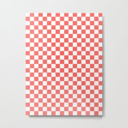 Small Checkered - White and Pastel Red Metal Print