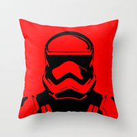 trooper Throw Pillows featuring Trooper  by Rabassa