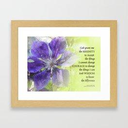 Serenity Prayer Clematis Purple Green Framed Art Print