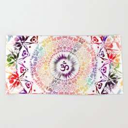 Radiant Om Mandala Beach Towel