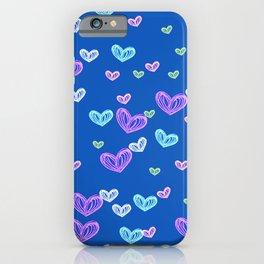Pastel Hearts Blue iPhone Case