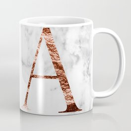 Monogram rose gold marble A Coffee Mug