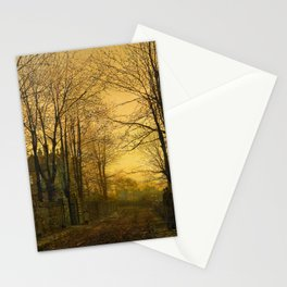 John Atkinson Grimshaw - October Afterglow  - Victorian Retro Vintage Painting Stationery Cards