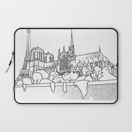 Notre Dame and Eiffel Tower travel scene Laptop Sleeve