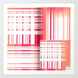 Abstract Dimensions in Coral, Muted Magenta and White Art Print