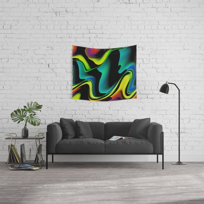 Hot abstraction with lines 4 Wall Tapestry