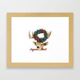 Joyeux noel - French Merry Christmas deer Framed Art Print