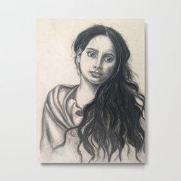 Charcoal Portrait of Sicilian Peasant Woman Metal Print